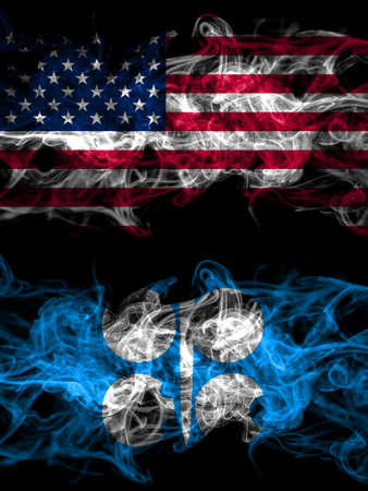 United States of America, America, US, USA, American vs OPEC smoky mystic flags placed side by side. Thick colored silky abstract smoke flags