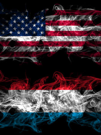 United States of America, America, US, USA, American vs Luxembourg smoky mystic flags placed side by side. Thick colored silky abstract smoke flags