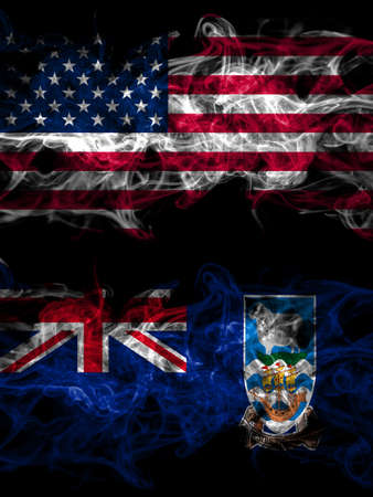 United States of America, America, US, USA, American vs British, Britain, Falkland Islands smoky mystic flags placed side by side. Thick colored silky abstract smoke flags