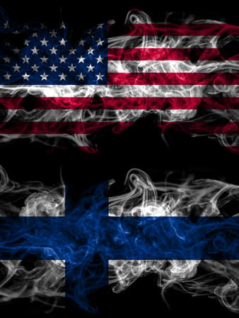 United States of America, America, US, USA, American vs Finland, Finnish smoky mystic flags placed side by side. Thick colored silky abstract smoke flags