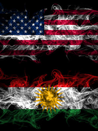 United States of America, America, US, USA, American vs Kurdistan, Kurdish, Kurds smoky mystic flags placed side by side. Thick colored silky abstract smoke flags