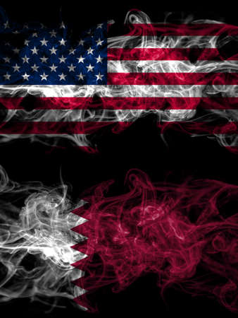 United States of America, America, US, USA, American vs Qatar, Qatari smoky mystic flags placed side by side. Thick colored silky abstract smoke flags