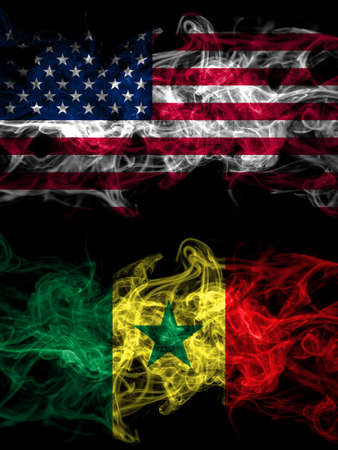 United States of America, America, US, USA, American vs Senegal smoky mystic flags placed side by side. Thick colored silky abstract smoke flags