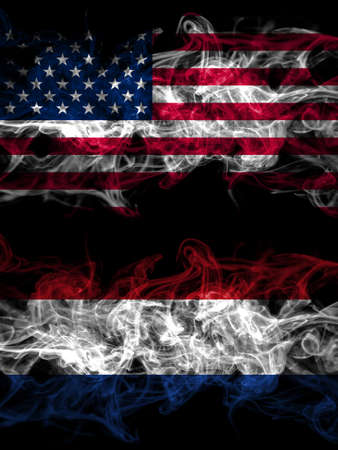 United States of America, America, US, USA, American vs Netherlands, Dutch, Holland smoky mystic flags placed side by side. Thick colored silky abstract smoke flags