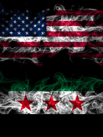 United States of America, America, US, USA, American vs Syria, Syrian Arab Republic, three stars smoky mystic flags placed side by side. Thick colored silky abstract smoke flags