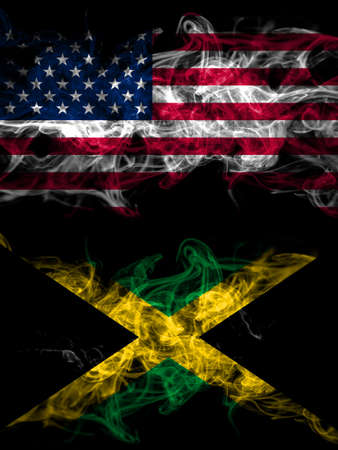 United States of America, America, US, USA, American vs Jamaica, Jamaican smoky mystic flags placed side by side. Thick colored silky abstract smoke flags