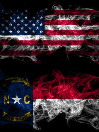 United States of America, America, US, USA, American smoky mystic flags placed side by side. Thick colored silky abstract smoke flags.