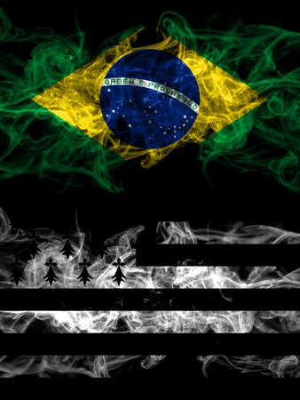 Brazil, Brazilian vs Brittany, Bretagne, Bretons smoky mystic flags placed side by side. Thick colored silky abstract smoke flags.