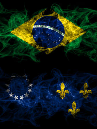 Brazil, Brazilian vs United States of America, America, US, USA, American, Louisville, Kentucky smoky mystic flags placed side by side. Thick colored silky abstract smoke flags. Stock Photo