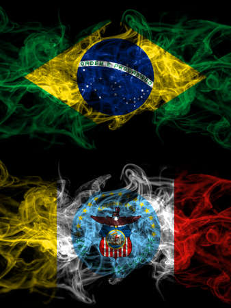 Brazil, Brazilian vs United States of America, America, US, USA, American, Columbus, Ohio smoky mystic flags placed side by side. Thick colored silky abstract smoke flags.