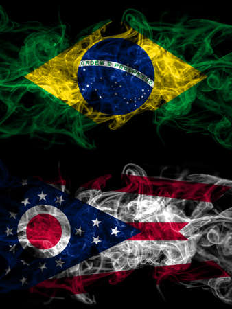 Brazil, Brazilian vs United States of America, America, US, USA, American, Ohio smoky mystic flags placed side by side. Thick colored silky abstract smoke flags.
