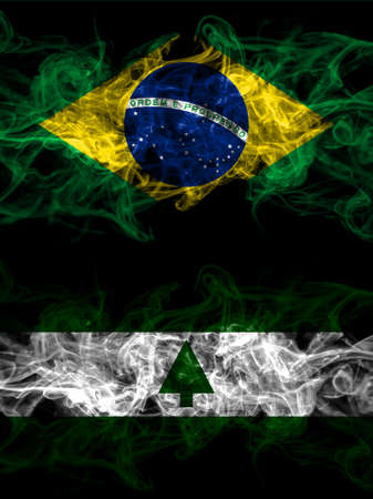 Brazil, Brazilian vs United States of America, America, US, USA, American, Greenbelt, Maryland smoky mystic flags placed side by side. Thick colored silky abstract smoke flags.