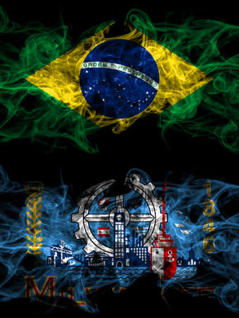 Brazil, Brazilian vs United States of America, America, US, USA, American, Milwaukee, Wisconsin smoky mystic flags placed side by side. Thick colored silky abstract smoke flags.