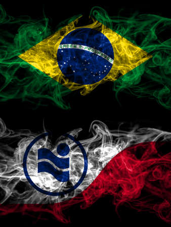 Brazil, Brazilian vs United States of America, America, US, USA, American, Irving, Texas smoky mystic flags placed side by side. Thick colored silky abstract smoke flags. 免版税图像