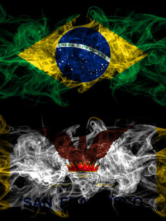 Brazil, Brazilian vs United States of America, America, US, USA, American, San Francisco, California smoky mystic flags placed side by side. Thick colored silky abstract smoke flags. 免版税图像