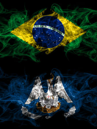 Brazil, Brazilian vs United States of America, America, US, USA, American, Louisiana smoky mystic flags placed side by side. Thick colored silky abstract smoke flags.