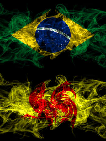 Brazil, Brazilian vs Wallonia smoky mystic flags placed side by side. Thick colored silky abstract smoke flags.