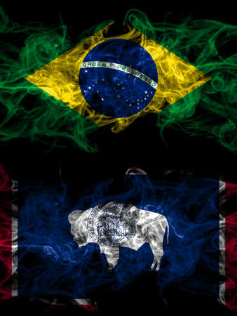 Brazil, Brazilian vs United States of America, America, US, USA, American, Wyoming smoky mystic flags placed side by side. Thick colored silky abstract smoke flags.