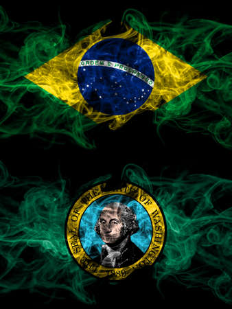 Brazil, Brazilian vs United States of America, America, US, USA, American, Washington smoky mystic flags placed side by side. Thick colored silky abstract smoke flags. 免版税图像
