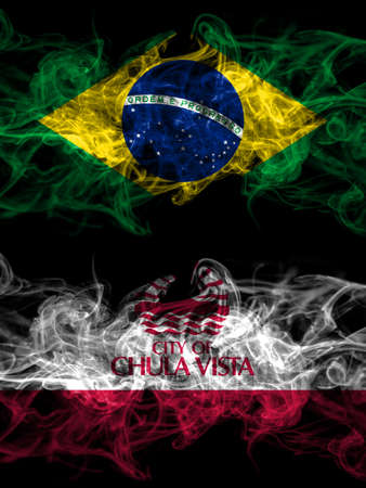 Brazil, Brazilian vs United States of America, America, US, USA, American, Chula Vista, California smoky mystic flags placed side by side. Thick colored silky abstract smoke flags. 免版税图像