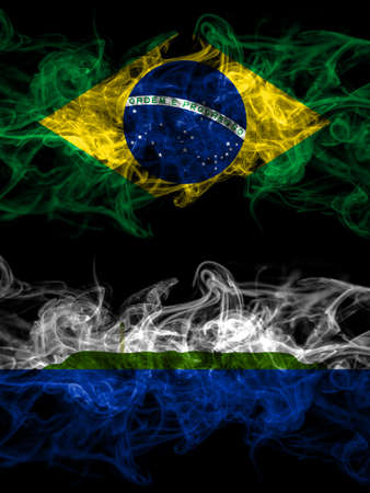 Brazil, Brazilian vs United States of America, America, US, USA, American, Navassa Island smoky mystic flags placed side by side. Thick colored silky abstract smoke flags.