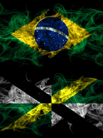 Brazil, Brazilian vs United States of America, America, US, USA, American, Monterey, California smoky mystic flags placed side by side. Thick colored silky abstract smoke flags. 免版税图像