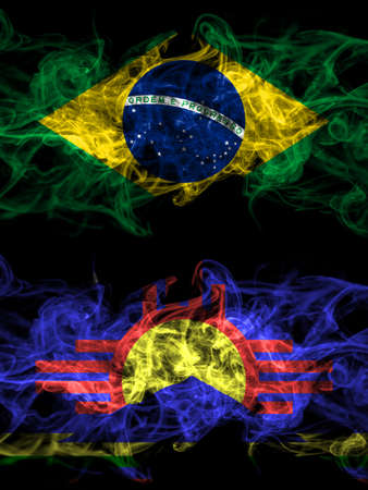 Brazil, Brazilian vs United States of America, America, US, USA, American, Roswell, New Mexico smoky mystic flags placed side by side. Thick colored silky abstract smoke flags.