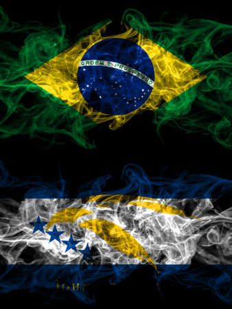 Brazil, Brazilian vs United States of America, America, US, USA, American, Johnston Atoll smoky mystic flags placed side by side. Thick colored silky abstract smoke flags.