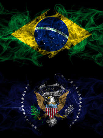 Brazil, Brazilian vs United States of America, America, US, USA, American, President smoky mystic flags placed side by side. Thick colored silky abstract smoke flags.
