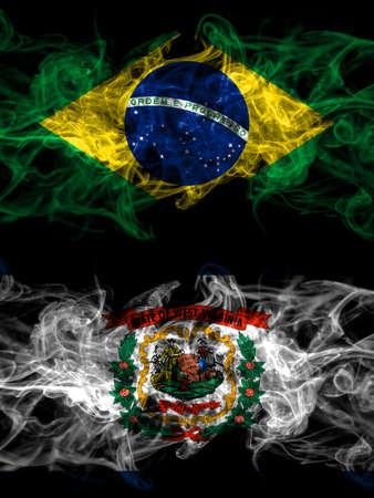 Brazil, Brazilian vs United States of America, America, US, USA, American, West Virginia smoky mystic flags placed side by side. Thick colored silky abstract smoke flags. 免版税图像