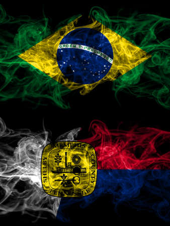 Brazil, Brazilian vs United States of America, America, US, USA, American, Memphis, Tennessee smoky mystic flags placed side by side. Thick colored silky abstract smoke flags.