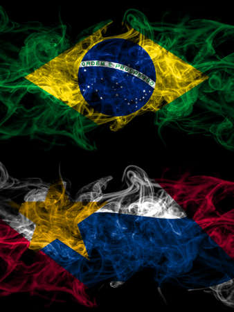 Brazil, Brazilian vs United States of America, America, US, USA, American, Lafayette, Indiana smoky mystic flags placed side by side. Thick colored silky abstract smoke flags. 免版税图像