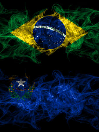 Brazil, Brazilian vs United States of America, America, US, USA, American, Nevada smoky mystic flags placed side by side. Thick colored silky abstract smoke flags.