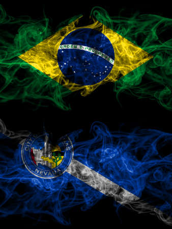 Brazil, Brazilian vs United States of America, America, US, USA, American, Las Vegas, Nevada smoky mystic flags placed side by side. Thick colored silky abstract smoke flags.