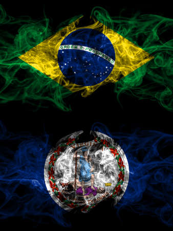 Brazil, Brazilian vs United States of America, America, US, USA, American, Virginia smoky mystic flags placed side by side. Thick colored silky abstract smoke flags.