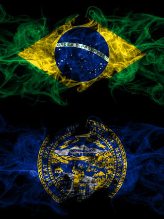 Brazil, Brazilian vs United States of America, America, US, USA, American, Nebraska smoky mystic flags placed side by side. Thick colored silky abstract smoke flags.