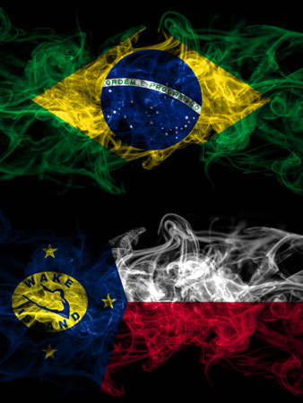 Brazil, Brazilian vs United States of America, America, US, USA, American, Wake Island smoky mystic flags placed side by side. Thick colored silky abstract smoke flags.