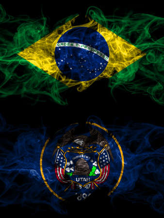 Brazil, Brazilian vs United States of America, America, US, USA, American, Utah smoky mystic flags placed side by side. Thick colored silky abstract smoke flags. 免版税图像