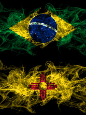 Brazil, Brazilian vs United States of America, America, US, USA, American, New Mexico smoky mystic flags placed side by side. Thick colored silky abstract smoke flags.