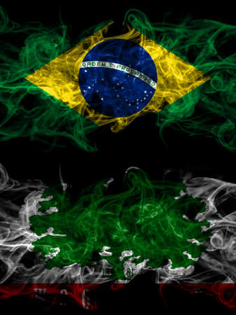 Brazil, Brazilian vs United States of America, America, US, USA, American, Woodland, California smoky mystic flags placed side by side. Thick colored silky abstract smoke flags.