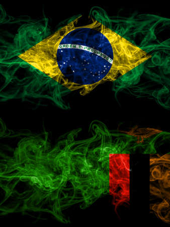 Brazil, Brazilian vs Zambia, Zambian smoky mystic flags placed side by side. Thick colored silky abstract smoke flags.