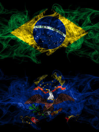 Brazil, Brazilian vs United States of America, America, US, USA, American, North Dakota smoky mystic flags placed side by side. Thick colored silky abstract smoke flags.