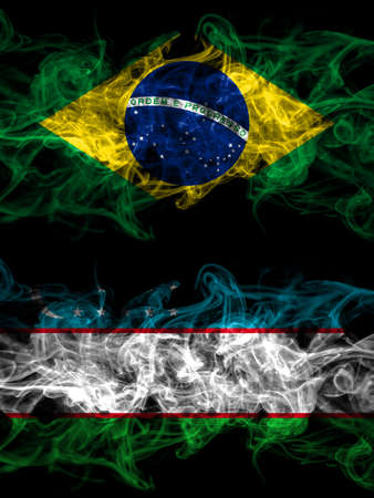 Brazil, Brazilian vs Uzbekistan smoky mystic flags placed side by side. Thick colored silky abstract smoke flags. 免版税图像