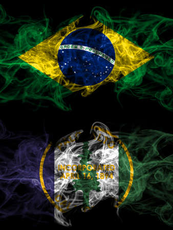 Brazil, Brazilian vs United States of America, America, US, USA, American, Palo Alto, California smoky mystic flags placed side by side. Thick colored silky abstract smoke flags.