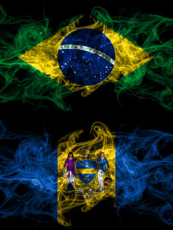 Brazil, Brazilian vs United States of America, America, US, USA, American, Philadelphia, Pennsylvania smoky mystic flags placed side by side. Thick colored silky abstract smoke flags.