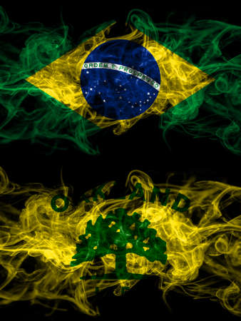 Brazil, Brazilian vs United States of America, America, US, USA, American, Oakland, California smoky mystic flags placed side by side. Thick colored silky abstract smoke flags.