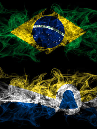 Brazil, Brazilian vs United States of America, America, US, USA, American, San Luis Obispo, California smoky mystic flags placed side by side. Thick colored silky abstract smoke flags. 免版税图像