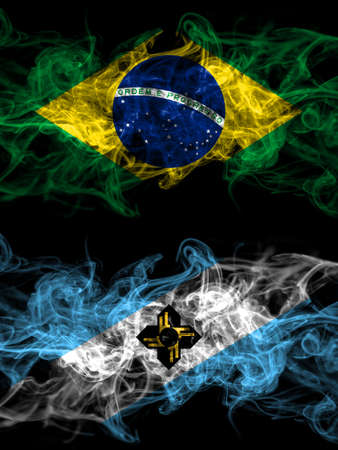 Brazil, Brazilian vs United States of America, America, US, USA, American, Madison, Wisconsin smoky mystic flags placed side by side. Thick colored silky abstract smoke flags.