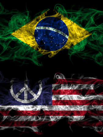 Brazil, Brazilian vs United States of America, America, US, USA, American, Peace smoky mystic flags placed side by side. Thick colored silky abstract smoke flags.