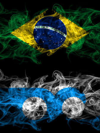 Brazil, Brazilian vs United States of America, America, US, USA, American, Ocean City, Maryland smoky mystic flags placed side by side. Thick colored silky abstract smoke flags.